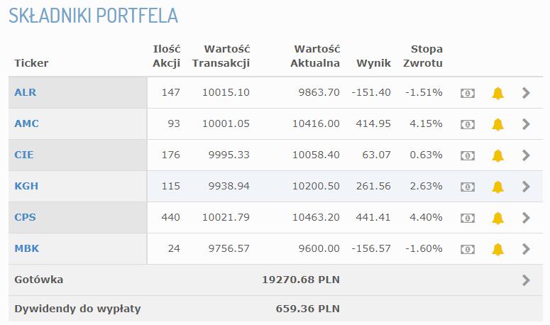 Składniki portfela po 28 tygodniu