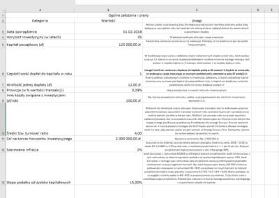Arkusz Excel - budowa planu inwestycyjnego