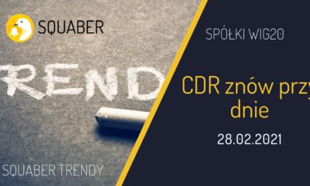 CDR znów przy dnie. WIG20 Analiza Squaber Trendy Luty 2021